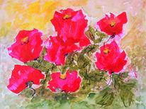 Garten, Abstrakt, Tuschmalerei, Blumen
