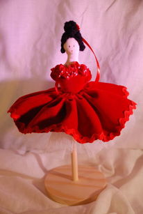 Figur, Puppe, Ballerina, Rot