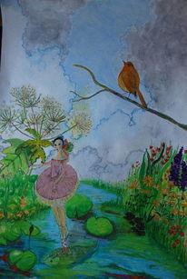 Wolken, Vogel, Tanz, Blumen