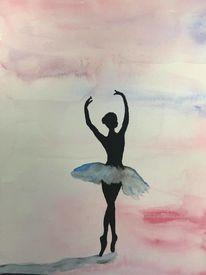 Tanz, Frau, Ballerina, Aquarell