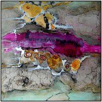 Marmormehl, Pigmente, Tusche, Ölmalerei