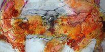 Sumpfkalk, Abstrakt, Marmormehl, Aquarellmalerei