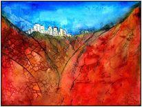 Marmormehl, Aquarellmalerei, Aero color, Pueblo blanco