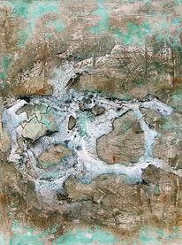 Aquarellmalerei, Abstrakt, Marmormehl, Beize