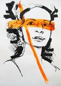 Tuschezeichnung portrait orange, Zeichnungen