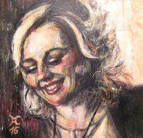 Mädchen, Lächeln, Dunkel, Portrait