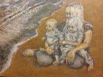 Kinder, Strand, Sand, Mutter