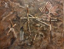 Grab, Vogel, Kreuz, Malerei