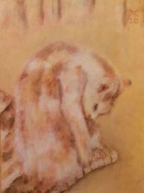 Katze, Orange, Gebeugt, Malerei