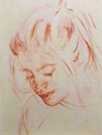 Gesicht, Ocker, Rot, Malerei