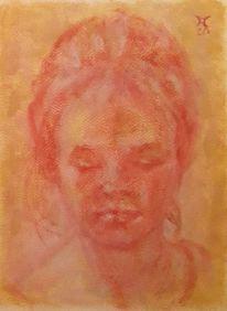 Frau, Blick, Malerei,
