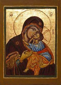 Oumilenije, Heilig, Muttergottes, Temperamalerei