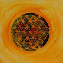 Lebensblume, Temperamalerei, Pigmente, Geometrie