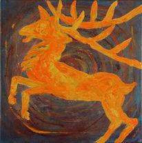 Symbol, Abstrakt, Springender hirsch, Acrylmalerei
