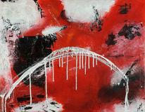 Brücke, Weiß, Collage, Temperamalerei