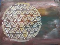 Temperamalerei, Naturfarben, Lebensblume, Weltall