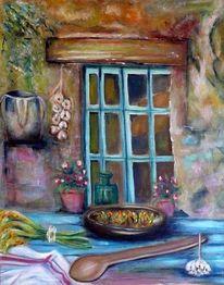 Essen, Stillleben, Fenster, Tuch