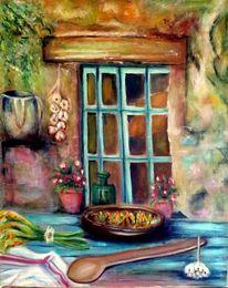 Stillleben, Essen, Tuch, Fenster