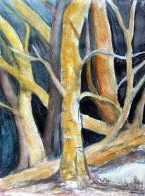 Baum, Dunkel, Hell, Malerei
