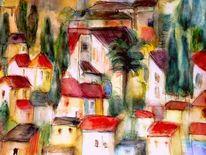 Haus, Häuser, Süden, Abstrakt
