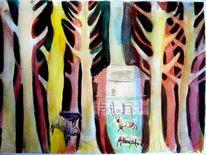 Licht, Baum, Wald, Aquarellmalerei