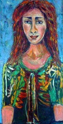 Mädchen, Farben, Rot, Portrait