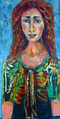 Portrait, Bunt, Naive malerei, Frau