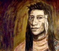 Portrait, Mann, Indianer, Malerei