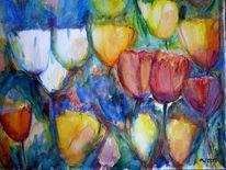 Blumen, Farben, Frühling, Aquarellmalerei