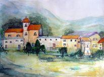 Dorf, Idylle, Grün, Aquarell