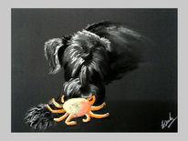 Schnauzer, Hundekopf, Pastellmalerei, Tiere