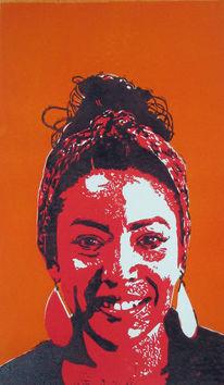 Hockdruck, Portrait, Frau, Karibik