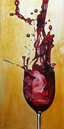 Weinglas, Stillleben, Acrylmalerei, Malerei