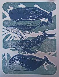 Meer, Wal, Linoldruck, Hochdruck