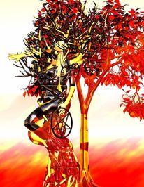 Baum der erkenntnis, Menschen, Gefallen, Digitale kunst