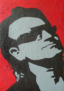 Bono, Spachteltechnik, Pop art, Beige