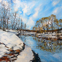 Frühling, Schnee, Start, Malerei