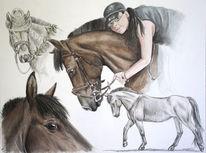 Zeichnung pferd, Portrait, Buntstiftzeichnung, Portrait nach fotovorlage
