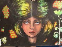 Mixed media, Gesicht, Skizzenbuch, Acrylmalerei