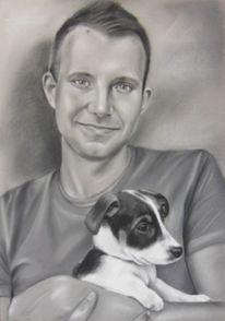 Realismus, Mann, Hundeportrait, Hund