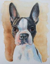 Gemälde, Terrier, Hund, Aquarellmalerei