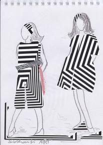 Zeichnung, Mischtechnik, Mode, Collage
