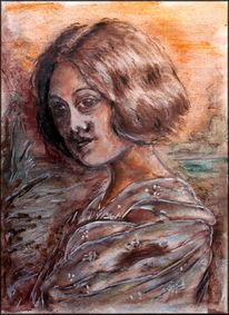 Hasenscharte, Kreide, Portrait, Jugendstil