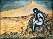 Surreal, Acrylmalerei, Gelb, Blau