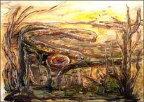 Kringel, Gelb, Surreale landschafts, Mischtechnik