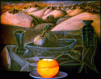 Ölmalerei, Orangenpelle, Installation, Fotografie