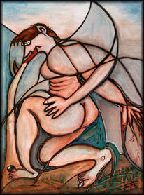 Ikarus, Traum, Ölmalerei, Abstrakt