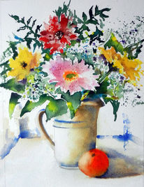 Blumen, Gerbera, Stillleben, Krug