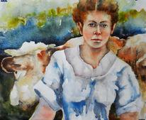 Frau, Kuh, Aquarell, Landleben