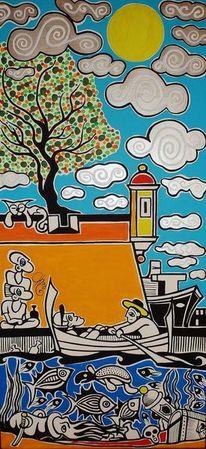 Romantisch, Malta, Regatta, Malerei